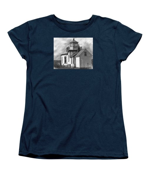 West Point Lighthouse Sketched Women's T-Shirt (Standard Cut) by Kirt Tisdale