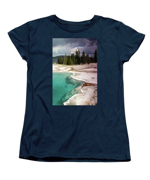 Women's T-Shirt (Standard Cut) featuring the photograph West Thumb Geyser Pool by Dawn Romine