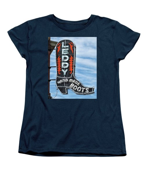 Women's T-Shirt (Standard Cut) featuring the photograph Western Boot Sign by David and Carol Kelly
