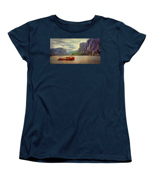 Women's T-Shirt (Standard Cut) featuring the painting Western Brook Pond by Jeff Kolker
