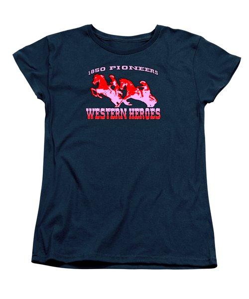 Western Heroes 1850 Pioneers - Tshirt Design Women's T-Shirt (Standard Cut) by Art America Gallery Peter Potter