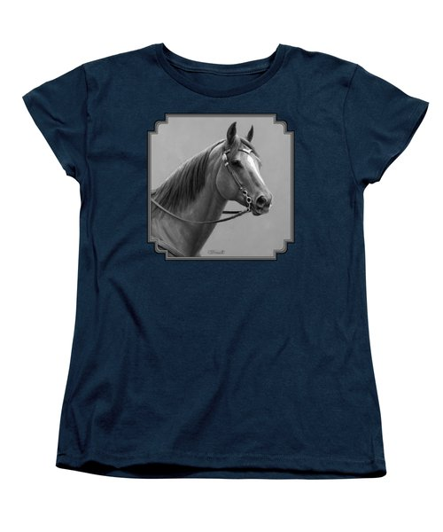 Western Quarter Horse Black And White Women's T-Shirt (Standard Fit)