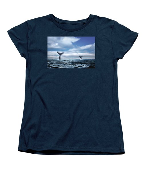 Women's T-Shirt (Standard Cut) featuring the photograph Whale Of A Tail by Tom Mc Nemar