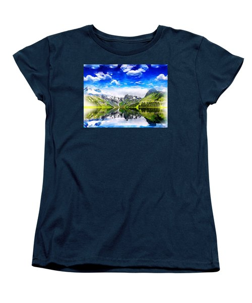Women's T-Shirt (Standard Cut) featuring the mixed media What A Beautiful Day by Gabriella Weninger - David