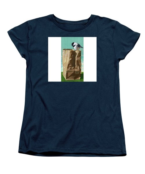Women's T-Shirt (Standard Cut) featuring the painting What's In The Bag Original Painting by Linda Apple