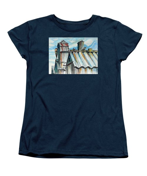 Women's T-Shirt (Standard Cut) featuring the painting Wheatland High Rise by Terry Banderas