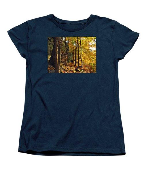 Women's T-Shirt (Standard Cut) featuring the photograph Whipp's Ledges In Autumn by Joan  Minchak