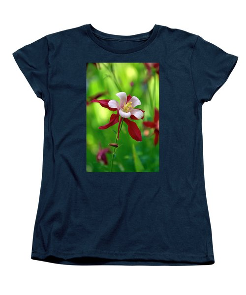 White And Red Columbine  Women's T-Shirt (Standard Cut) by James Steele
