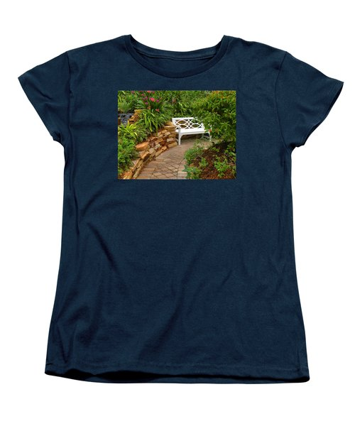 Women's T-Shirt (Standard Cut) featuring the photograph White Bench In The Garden by Rosalie Scanlon