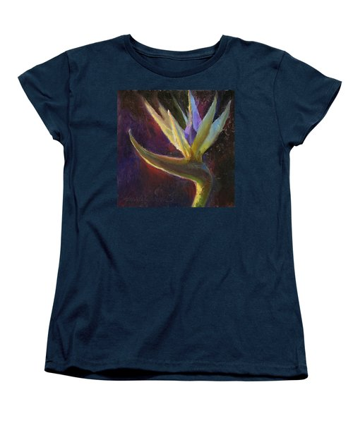 Women's T-Shirt (Standard Cut) featuring the painting White Bird Of Paradise -tropical Flower Painting by Karen Whitworth