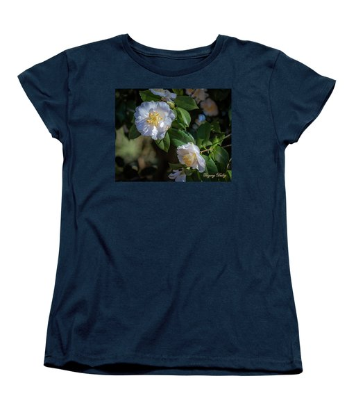 Women's T-Shirt (Standard Cut) featuring the photograph White Camelia 02 by Gregory Daley  PPSA