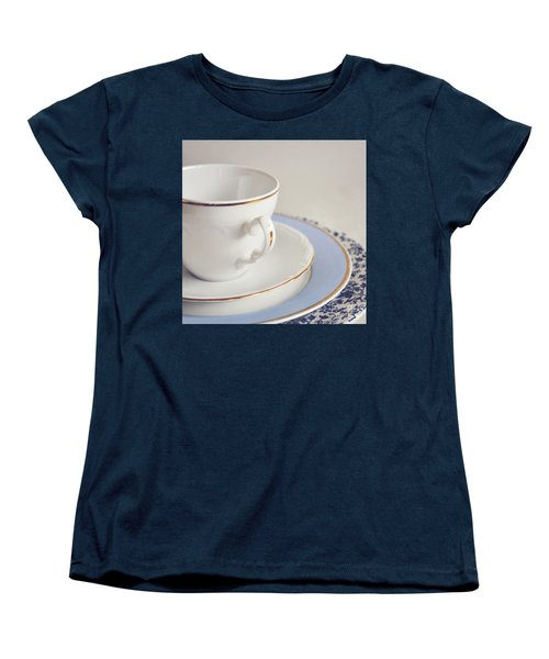 Women's T-Shirt (Standard Cut) featuring the photograph White China Cup, Saucer And Plates by Lyn Randle