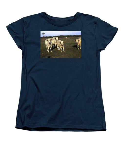 Women's T-Shirt (Standard Cut) featuring the photograph White Cows by Sally Weigand