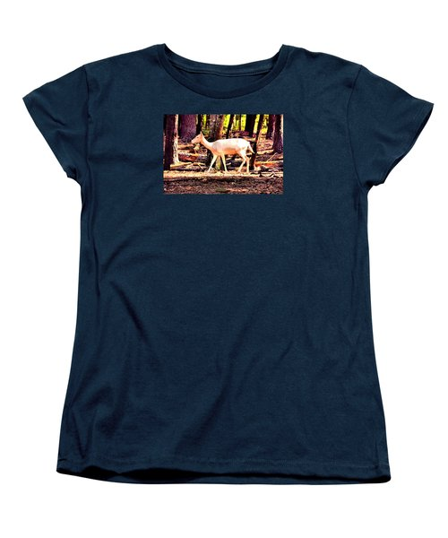 White Deer And Forest Stroll Women's T-Shirt (Standard Cut) by James Potts