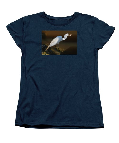 White Egret Fishing For Midday Meal II Women's T-Shirt (Standard Cut) by Suzanne Gaff