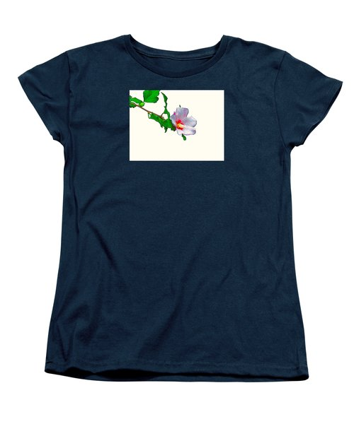 White Flower And Leaves Women's T-Shirt (Standard Cut) by Craig Walters
