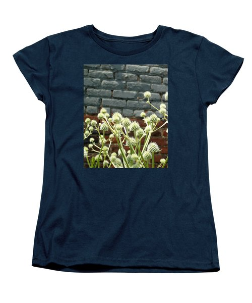 White Flowers And Bricks Women's T-Shirt (Standard Cut) by Susan Lafleur