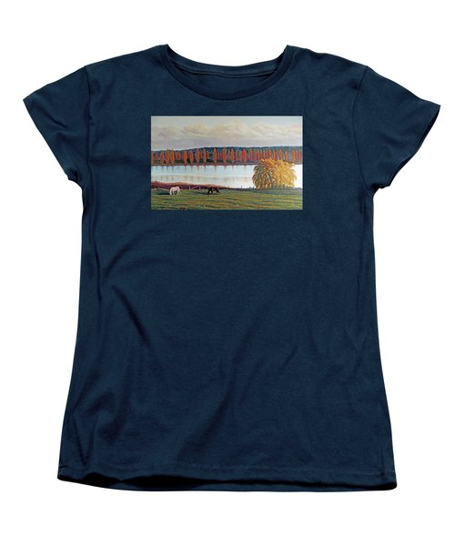 Women's T-Shirt (Standard Cut) featuring the painting White Horse Black Horse by Laurie Stewart