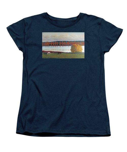White Horse Black Horse Women's T-Shirt (Standard Cut) by Laurie Stewart