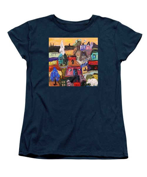 Women's T-Shirt (Standard Cut) featuring the painting White Horse In The Village Field by Mary Carol Williams
