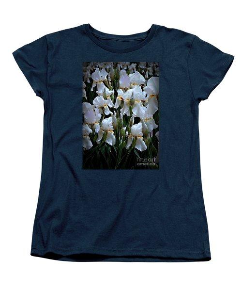 White Iris Garden Women's T-Shirt (Standard Cut) by Sherry Hallemeier