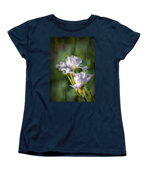 White Iris On Abstract Background #g4 Women's T-Shirt (Standard Cut)