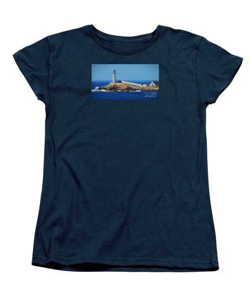 Women's T-Shirt (Standard Cut) featuring the painting White Island Lighthouse by Mim White