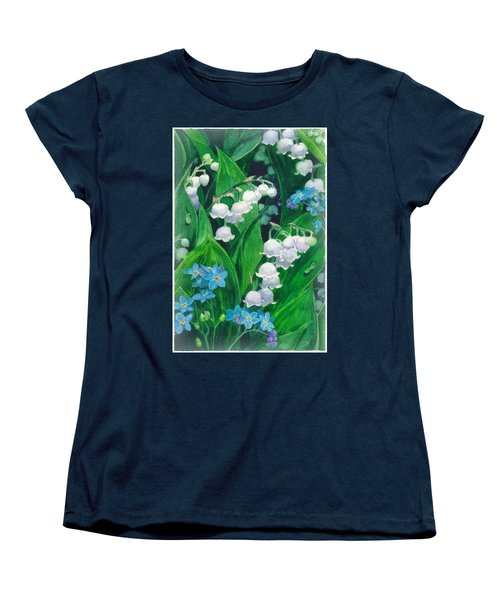 White Lilies Of The Valley Women's T-Shirt (Standard Cut) by Sergey Lukashin