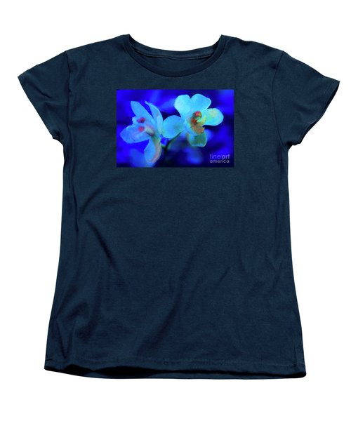 Women's T-Shirt (Standard Cut) featuring the digital art White Painted Orchids by Darleen Stry