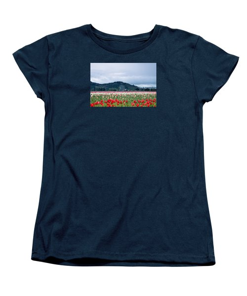 White Pass Highway With Tulips Women's T-Shirt (Standard Cut) by E Faithe Lester
