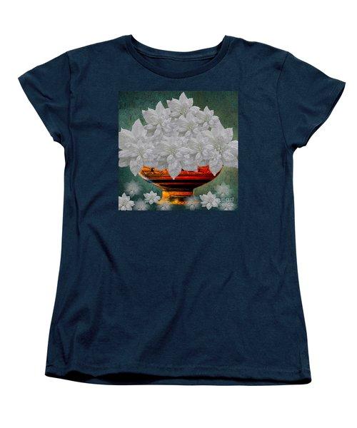 White Poinsettias In A Bowl Women's T-Shirt (Standard Cut) by Saundra Myles