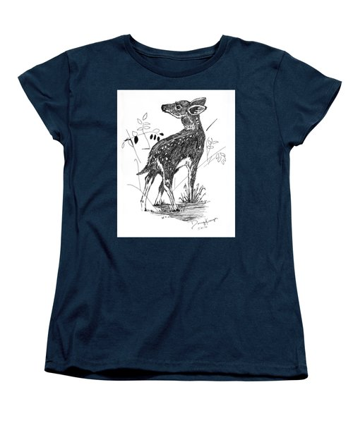 Women's T-Shirt (Standard Cut) featuring the drawing White-tail Fawn -pen And Ink by Doug Kreuger