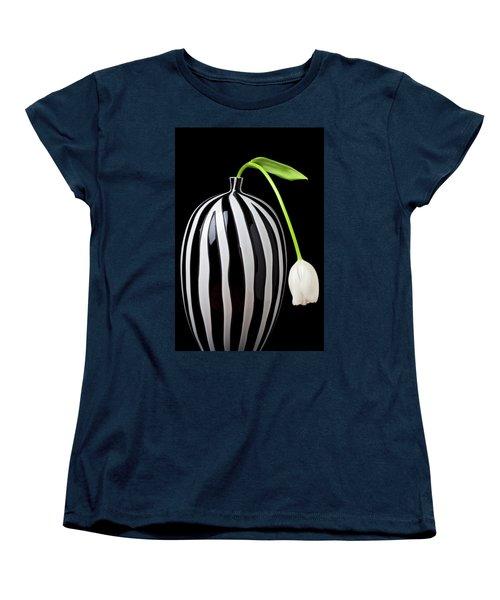 White Tulip In Striped Vase Women's T-Shirt (Standard Cut) by Garry Gay