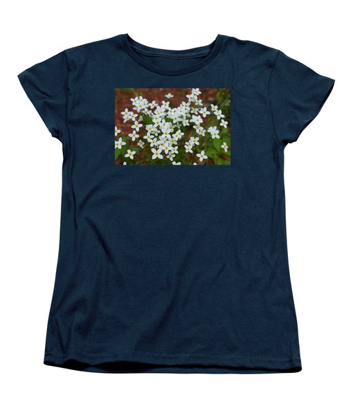 Women's T-Shirt (Standard Cut) featuring the digital art White Wildflowers by Barbara S Nickerson