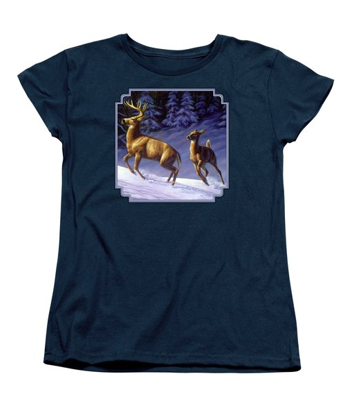 Whitetail Deer Painting - Startled Women's T-Shirt (Standard Cut) by Crista Forest