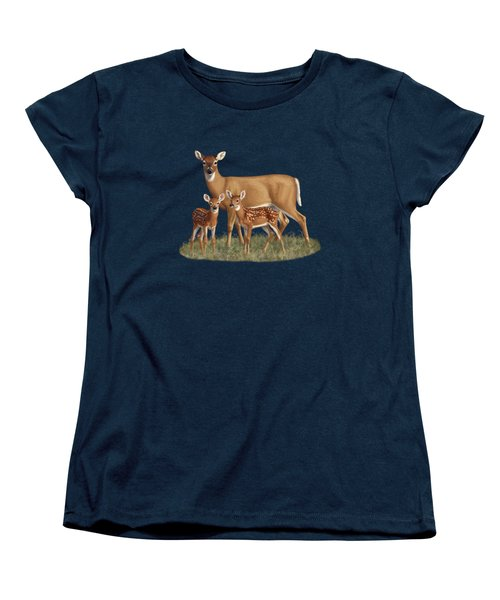 Whitetail Doe And Fawns - Mom's Little Spring Blossoms Women's T-Shirt (Standard Cut) by Crista Forest