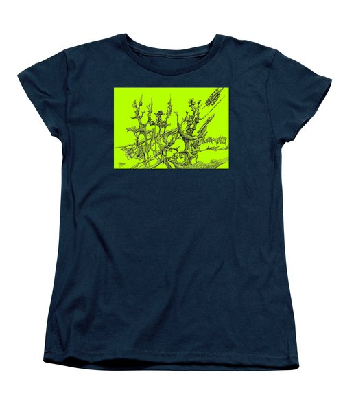 Whooshh -  Lime Background Women's T-Shirt (Standard Cut) by Charles Cater