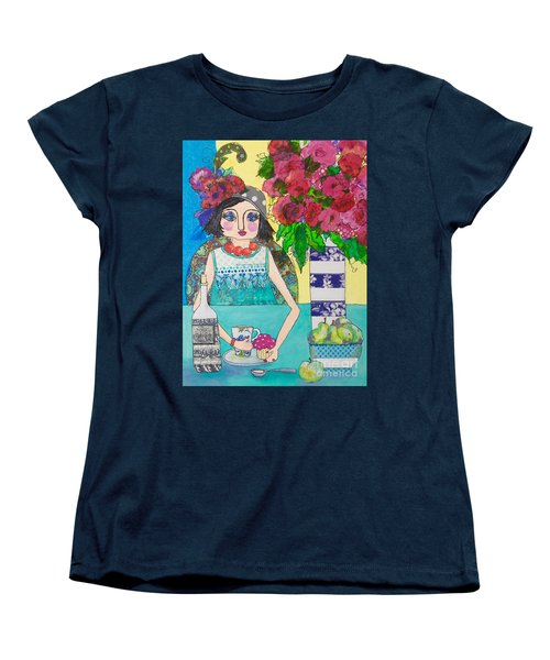Women's T-Shirt (Standard Cut) featuring the mixed media Why Limit Happy To A Hour by Rosemary Aubut