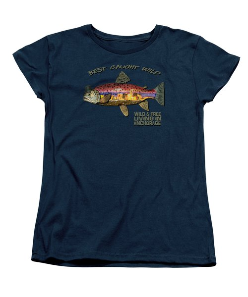Wild And Free In Anchorage-trout With Hat Women's T-Shirt (Standard Cut)