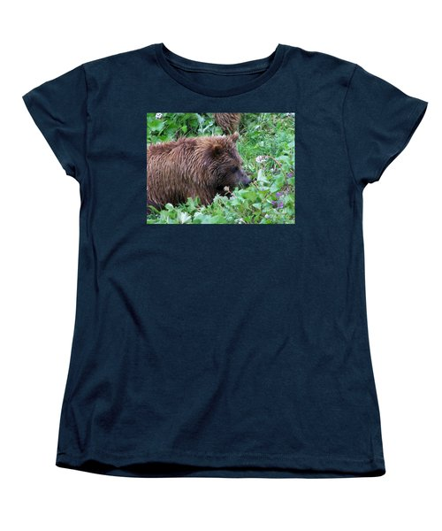 Wild Bear Eating Berries  Women's T-Shirt (Standard Cut) by Kathy  White