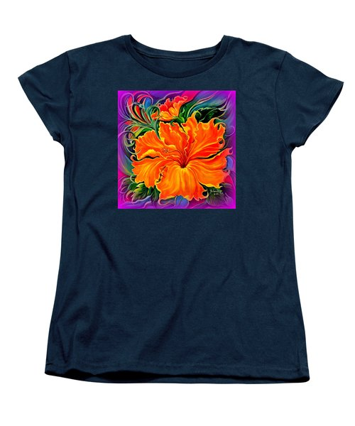 Wild Purple Hibiscus Women's T-Shirt (Standard Cut) by Yolanda Rodriguez