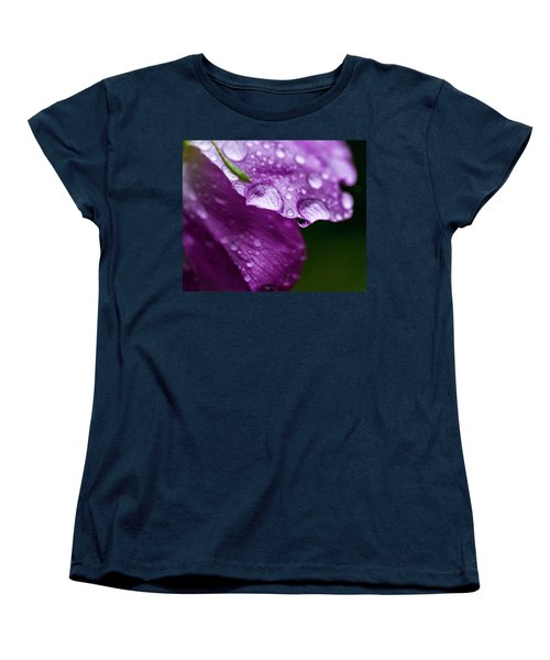 Women's T-Shirt (Standard Cut) featuring the photograph Wild Rose Droplet by Darcy Michaelchuk