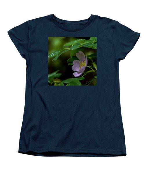 Women's T-Shirt (Standard Cut) featuring the photograph Wild Rose With Shelter by Darcy Michaelchuk