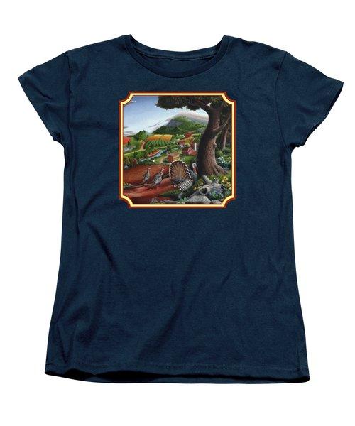 Wild Turkeys In The Hills Country Landscape - Square Format Women's T-Shirt (Standard Cut) by Walt Curlee