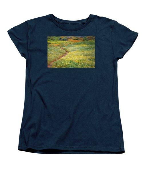Women's T-Shirt (Standard Cut) featuring the photograph Wildflower Field Near Diamond Lake In California by Jetson Nguyen