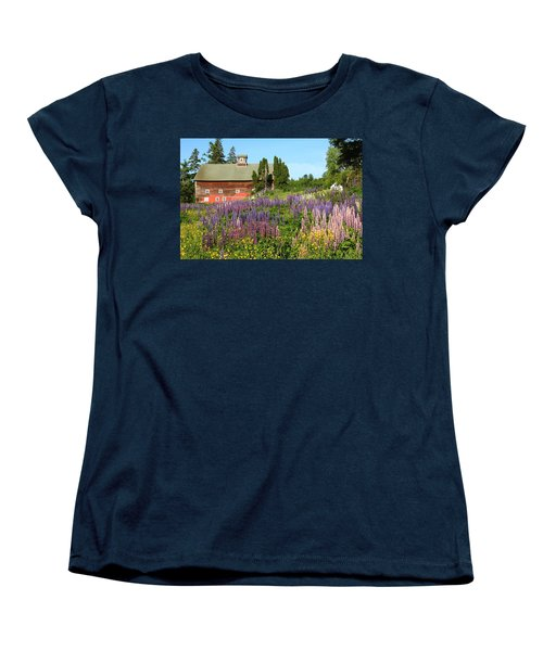 Wildflowers And Red Barn Women's T-Shirt (Standard Cut) by Roupen  Baker