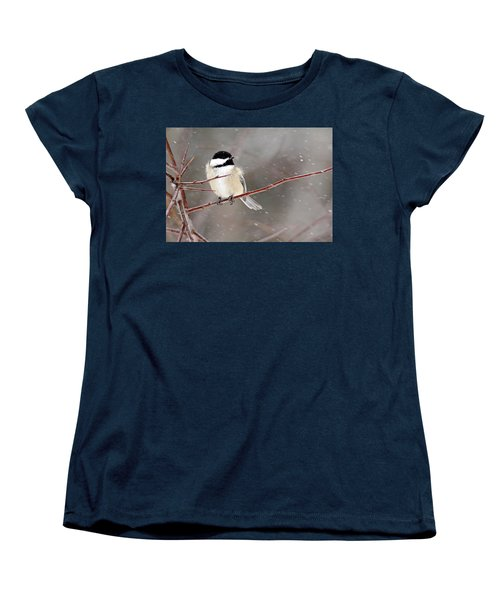 Windblown Chickadee Women's T-Shirt (Standard Cut) by Debbie Oppermann