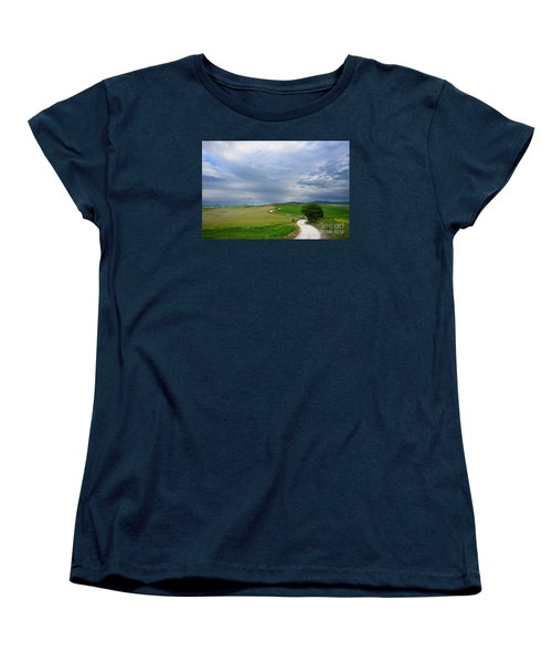 Winding Road To A Destination In A Tuscany Landscape Women's T-Shirt (Standard Cut) by IPics Photography