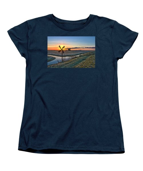 Women's T-Shirt (Standard Cut) featuring the photograph Windmill At Sunrise by Frans Blok