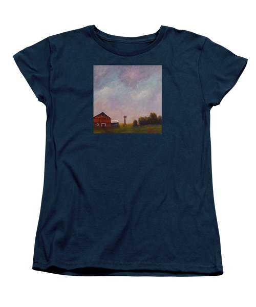 Women's T-Shirt (Standard Cut) featuring the painting Windmill Farm Under A Stormy Sky. by Dan Wagner